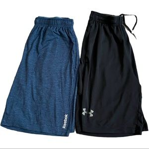 Two pair Athletic gym shorts Under Armour Reebok S